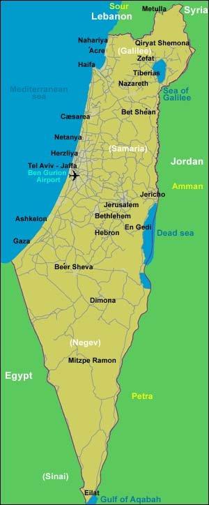Dansk Israelsk Forening Dif Kort Over Israel Oversigt