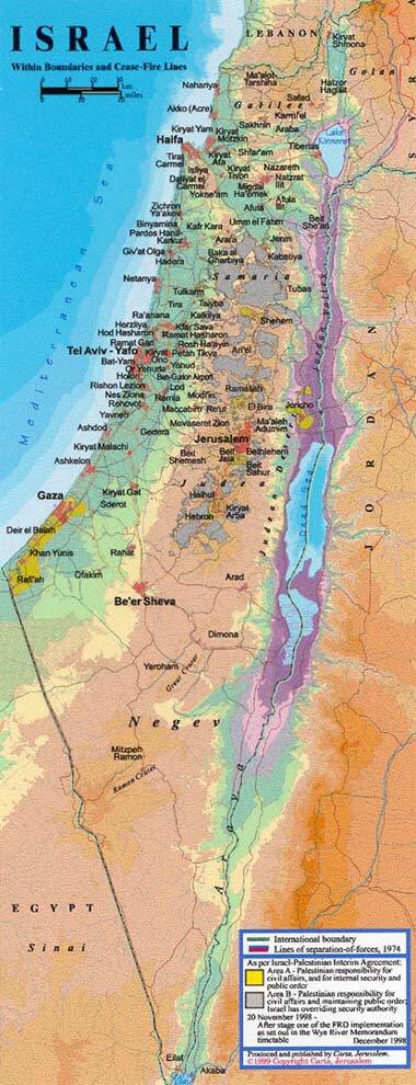Dansk Israelsk Forening Dif Kort Over Israel Vestbredden