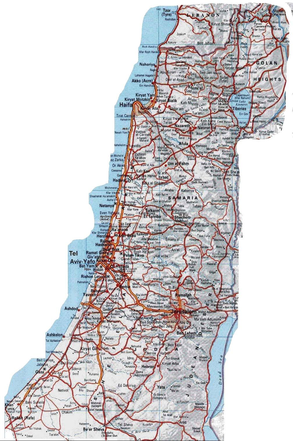 Dansk Israelsk Forening Dif Vejkort Over Israel Samaria